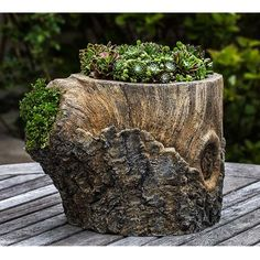 Walnut Tree Stump Outdoor Garden Planter P-691