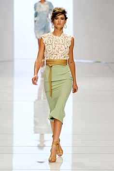 Lace top.  Obi belt.  Pencil skirt.  All in colors that are close to neutrals on their own, but together make an interesting and sophisticated whole.