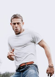 Charlie Hunnam source I'm a sucker for t shirt and jeans.
