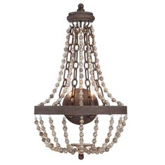#1 for height - STAIRS..FAVORITE - 14W X 23H X 7D....2-60...$218...SHADES OF LIGHT....Rustic French Country 2 Light Wall Sconce