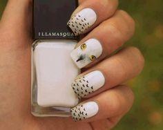 owl nail ART. Amazing owl eyes!
