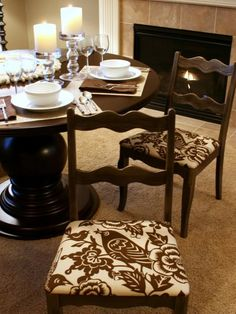 Learn how to re-cover and reupholster a dining room chair with these step-by-step instructions at HGTV.com. -- I'm reupholstering the dining room chairs soon.