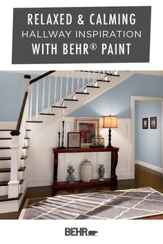 It's easy to add a relaxed and calming style to your front entryway. Just start with Behr Paint in Life At Sea, Polar Bear, and Elegant Navy. Modeled after this chic hallway inspiration, click below to learn more about this blue and white paint color palette.