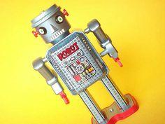 Kawaii Japanese Antique Wind Up Tin Toy Robot R-35 Vintage Collection Made in Japan 1980s  Masudaya corp.,1984