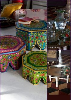 """Moroccan style-pretty sure I can use this idea to make a Moroccan bedside table with a couple of drawers. Will share if I figure it out. Hope it doesn't end up on the """"nailed it"""" board! Indian Furniture, Funky Furniture, Moroccan Decor, Moroccan Style, Morrocan Table, Persian Decor, Yoga Studio Design, Deco Boheme, Hand Painted Furniture"""