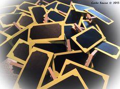 Etiquetas personalizáveis com vinil autocolante tipo ardósia: prontas para a próxima utilização! Customizable labels with chalkboard adhesive vynil: ready to be used again! #crafts #artesanato #customizablelabels #etiquetaspersonalizáveis #ardósia #chalkboard