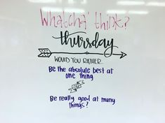 Whatcha think Thursday / morning message Classroom Quotes, School Classroom, Classroom Activities, Teaching Themes, Daily Writing Prompts, Daily Journal Prompts, Morning Board, Morning Activities, Bell Work