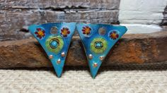 Enameled Earring Charms Slices in Turquoise by BlueHareArtWear