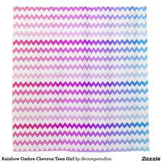 Rainbow Ombre Chevron Teen Girl Shower Curtain