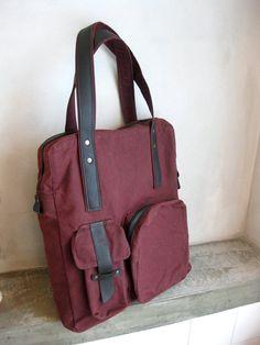 Waxed Canvas Tote Bag Burgundy Dark Brown Leather by avivaschwarz