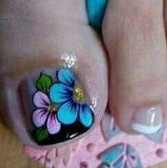 Uñas Pretty Toe Nails, Cute Toe Nails, Toe Nail Art, Nails & Co, Pedicure Nails, Diy Nails, Pedicure Designs, Toe Nail Designs, Summer Toe Designs