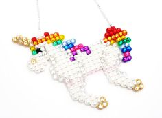 *Sparkly Rhinestone & Faux Pearl Encrusted Rainbow Unicorn Necklace*    This fairytale inspired piece is perfect for little princesses, super girly