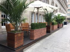 Terraces - Veronneau - Plants and Decor Tree Planters, Potted Trees, Planter Boxes, Potted Plants, Outdoor Dining, Outdoor Decor, Plant Box, Raised Planter, Wood Tree