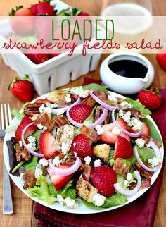 Loaded Strawberry Fields Salad is a sweet, tart, tangy, and fresh flavor explosion! #glutenfree | iowagirleats.com