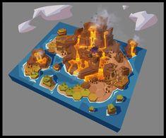 ArtStation - 火山岛设计, pan - Map Games, Board Games, Hex Map, Rendering Art, Future Games, Environment Concept Art, Game Art, Illustration, Artwork