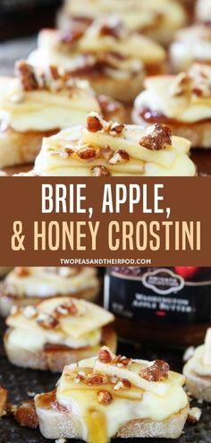 An easy homemade cheese and honey crostini recipe perfect as appetizers for holiday parties! It is topped with apple butter and brie that easily melts and is finished off by drizzled honey and pecans. Definitely an attention seeker in every party! Brie Appetizer, Fall Appetizers, Appetizer Recipes, Easy Dinner Party Recipes, Holiday Party Appetizers, Recipes With Brie Cheese Appetizers, Burger Recipes, Simple Appetizers, Honey Recipes
