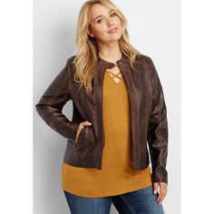 a2be0841bfc maurices Plus Size - Faux Leather Scuba Jacket With Perforated And... ( 79