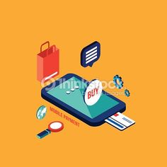 Flat 3d isometric modern design Mobile payment Online shopping and ecommerce concept Vector illustration