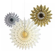 3Pcs Gold Silver Cream Tissue Paper Fans Wheel For Party Birthday Home Decor