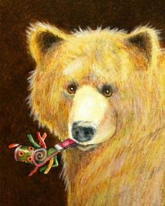 Happy New Year party bear by Wendy DeWitt pieces) Bear Illustration, Love Bear, Bear Art, Small Art, Forest Animals, Whimsical Art, Funny Art, Brown Bear, Pet Portraits