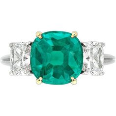 Preowned Untreated No Oil Colombian Emerald Diamond Platinum Ring ($138,500) ❤ liked on Polyvore featuring jewelry, rings, green, emerald rings, platinum jewelry, platinum ring, green emerald ring and preowned rings