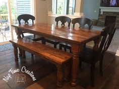 farmhouse table stained in General Finishes antique walnut gel stain and sealed with Arm r seal. Table Tennis Equipment, Water Based Wood Stain, Painted Furniture, Furniture Design, Stain On Pine, Stained Table, General Finishes, Farmhouse Table