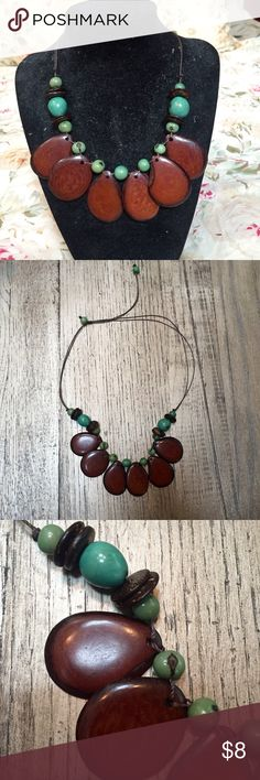 Wooden beaded necklace Tightens by pulling the two strings in the back! Jewelry Necklaces