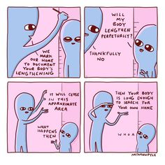 Body lengthening is one of my favorite things! Owlturd Comics, Planet Comics, Funny Comics, Tumblr Funny, Funny Memes, Dankest Memes, Funny Cute, Hilarious, 4 Panel Life