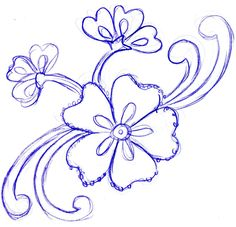 flower flowers easy drawings drawing simple sketches pencil draw designs