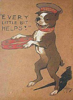 Vintage Every Little Bit Helps Boston Terrier Print Decoupaged On Wood Vintag hilft jedes wenig Druck Bostons Terrier, der auf Holz decoupaged ist Red Boston Terriers, Boston Terrier Art, Terrier Breeds, Terrier Puppies, Terrier Rescue, Bull Terriers, Bulldog Puppies, Boston Terrier Tattoo, Vintage Art Prints