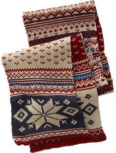 I love it! definitely a knitting machine thing.  Fair Isle Sweater-Knit Scarves
