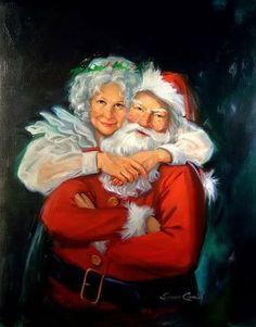 santa claus and mrs claus Christmas Scenes, Christmas Pictures, Christmas Art, Christmas Holidays, Xmas, Santa Baby, Dear Santa, Illustration Noel, Santa Pictures