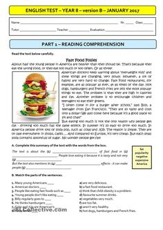 FAST FOOD - A1 Test - version B (students with special needs)