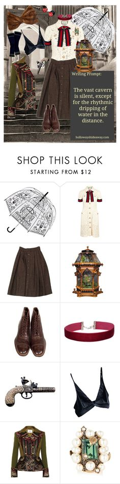 """Writing prompt"" by girl-in-the-black-leather-jacket ❤ liked on Polyvore featuring Lulu Guinness, Gucci, Guy Laroche, FLORIAN, Miss Selfridge, Prabal Gurung and Miu Miu"