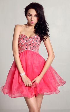 Evermiss 1006 Strapless Beaded Prom Dress
