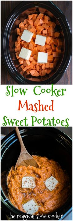 Slow Cooker Mashed Sweet Potatoes - The Magical Slow Cooker Crock Pot Slow Cooker, Crock Pot Cooking, Slow Cooker Recipes, Paleo Recipes, Cooking Recipes, Crockpot Meals, Easy Cooking, Delicious Recipes, Easy Mashed Sweet Potatoes