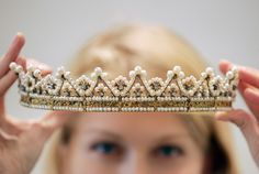 Italian Queen Marie-Jose's Seed-Pearl tiara.  She was the last Queen of Italy. Her thirty-five day reign as queen consort earned her the affectionate nickname the May Queen.