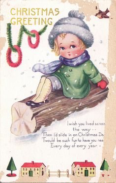 Very cute vintage Christmas greetings. #vintage #Christmas #cards