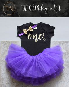 Birthday Girl Outfit Purple Gold Tutu Girl by TheWhiteInviteGifts  This 1st Birthday Girl Outfit including a purple tutu, birthday girl shirt and gold bow is the perfect outfit for her first birthday party or cake smash and is sure to have everyone asking you where you got this precious outfit.