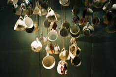 Hanging tea cups: tie in w/ upcoming event