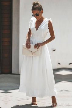 Basilica Cotton Maxi Dress - Another! White Maxi Dresses, Casual Dresses, White Cotton Dresses, White Dress Casual, Long White Dress Boho, White Dress With Sleeves, White Dress Summer, Beautiful Dresses, Pretty Dresses