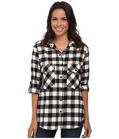 SANCTUARY New Casual Button Down Boyfriend Shirt Black White Plaid Flannel S $90 #Sanctuary #ButtonDownShirt #Casual