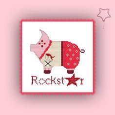 Stickvorlage farbig Kreuzstich sticken Stickmuster Schwein Rockstar Stickvorlage von www.yayaya-shop.com