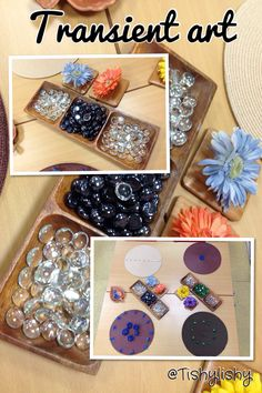 Transient art with placemats, glass nuggets and fake flowers. Loose part Fine Motor Activities For Kids, Creative Activities, Sensory Activities, Nursery Activities, Kindergarten Projects, School Projects, School Ideas, Dramatic Play Themes, Finger Gym