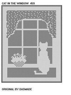 ". Filet Crochet Cat In the Window Pattern afghan doilyFrom dasmade ""CAT IN THE WINDOW"" FILET CROCHET DOILY, MAT OR AFGHAN PATTERN."