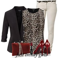 Classy Work Outfits, Smart Casual Outfit, Stylish Outfits, Fall Outfits, Look Fashion, Fashion Outfits, Womens Fashion, Unique Fashion, Leopard Print Outfits