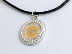 Pewter with sun print & sterling silver heart pendant-resin,Celestial,stars,suns