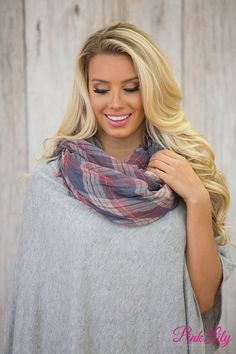 This lightweight plaid scarf is simply perfect for welcoming fall! We love the faded navy, cream, and burgundy red color combination - it's so easy to rock with so many colors!