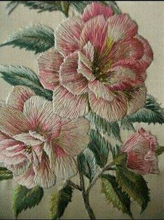 Crewel Work Or Embroidery Crewel Embroidery Flowers Vintage Hand Embroidered - /colleengurr/fiber-art/ BACK Lovely vintage hand embroidery in pink and green. Vintage Embroidery Iron On Transfers Vintage Embroidery Machine Vintage Embroidery For Sale Vinta Embroidery Needles, Silk Ribbon Embroidery, Crewel Embroidery, Hand Embroidery Patterns, Vintage Embroidery, Cross Stitch Embroidery, Machine Embroidery, Embroidery Designs, Embroidered Roses