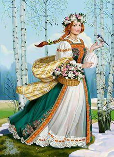 Russian pagan Godess of spring. Russian Folk Art, Ukrainian Art, 1 Gif, Sewing Art, Russian Fashion, Art Oil, Traditional Art, Pagan, Photo Art